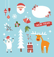 Set of Christmas and New Year Cute Hand Drawn vector image
