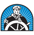 ship captain helmsman sailor helm vector image vector image