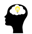 silhouette of a man with a head lamp vector image