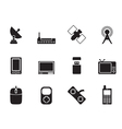 Silhouette technology and Communications icons vector image