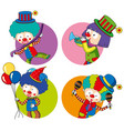 sticker templates with happy clowns vector image vector image
