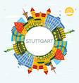 stuttgart germany city skyline with color vector image vector image