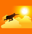 superhero flying towards the sun vector image vector image