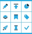 user icons colored set with checkmark edit vector image vector image