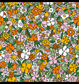 wild flowers and grass seamless pattern vector image