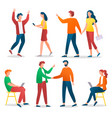 workers and friends collection business character vector image