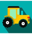 Yellow tractor flat icon vector image vector image