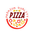creative flat pizzeria logo design with vector image