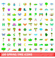 100 spring time icons set cartoon style vector image vector image