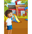 A happy student at the schools playground vector image vector image