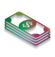 bank note dollar sign colorful icon with vector image