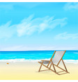 beach wooden chair on the beach vector image