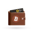 Bitcoin wallet logo with bank card vector image vector image
