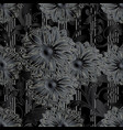 black 3d flowers seamless pattern vector image