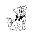cartoon dog outlined hand drawn sketch vector image vector image