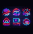 collection neon signs food set logos in neon vector image