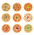 Different pizza food icons set collection isolated vector image