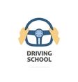 Driving school logo hands holding sport vector image vector image