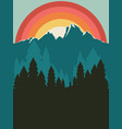 forest near mountain poster vector image vector image
