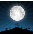 Full Moon with Stars and Trees vector image vector image