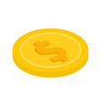 gold coin with a dollar sign icon vector image vector image