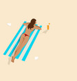 graphic of a woman sunbathing vector image vector image