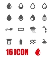 grey water icons set vector image vector image