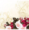 grunge background with roses vector image vector image