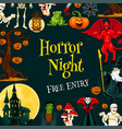 halloween horror night party invitation banner vector image vector image