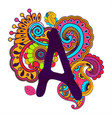 hand drawn doodling alphabet vector image
