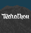 Hand drawn word Marathon on mountain background vector image