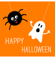 Hanging spider and ghost Happy Halloween card Flat vector image vector image