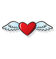 heart wings fly romantic comics style vector image vector image