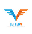 letter v concept business logo design wing vector image