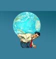 man carrying planet earth vector image vector image