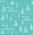 merry christmas and christmas tree seamless vector image vector image