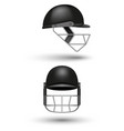 realistic 3d black cricket helmet mockup isolated vector image