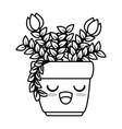roses house plant in pot kawaii character vector image vector image