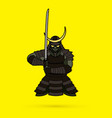 samurai standing front view ready to fight graphic vector image