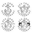 sea food vintage labels set vector image