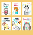 set greeting cards with easter animals vector image