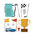 set of golf equipment vector image vector image