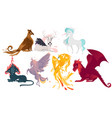 set of mythical mythological creates and animals vector image vector image