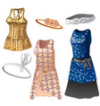 set of women dresses and belts vector image