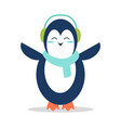sweet penguin in soft earpieces and warm scarf vector image