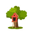 tree house wooden hut on green tree with ladder vector image