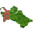 turkmenistan map on a brick wall vector image