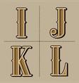 western alphabet letters vintage design i j k vector image