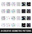 Set of creative geometric patterns Memphis style vector image