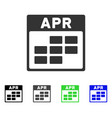 april calendar grid flat icon vector image